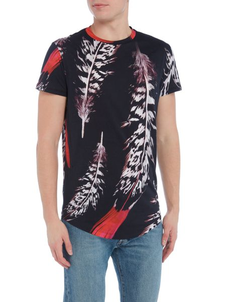 Religion Large feather print crew neck t-shirt