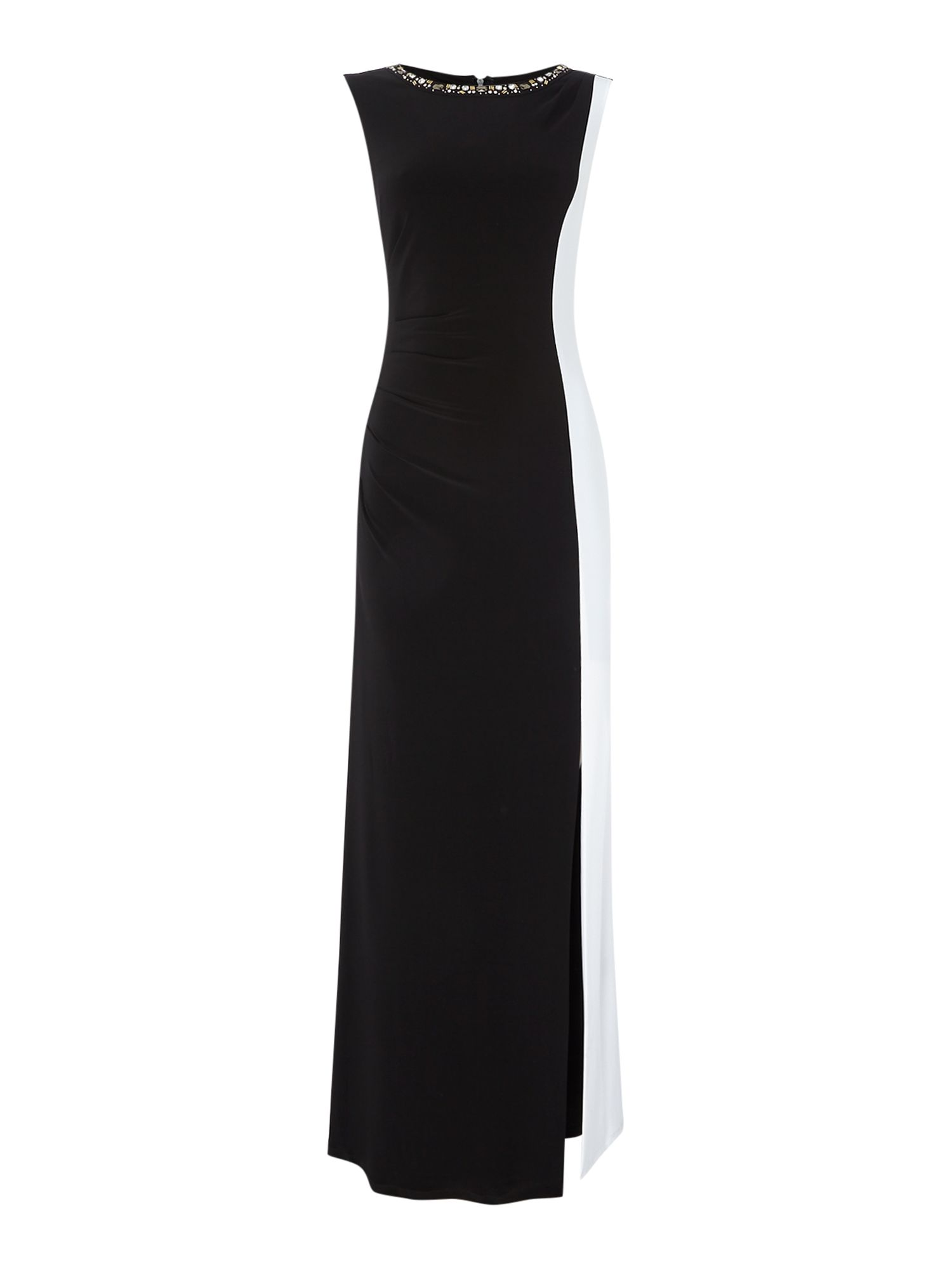 JS Collections Colour block gown with embellished neckline, Black/White