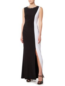 JS Collections Colour block gown with embellished neckline