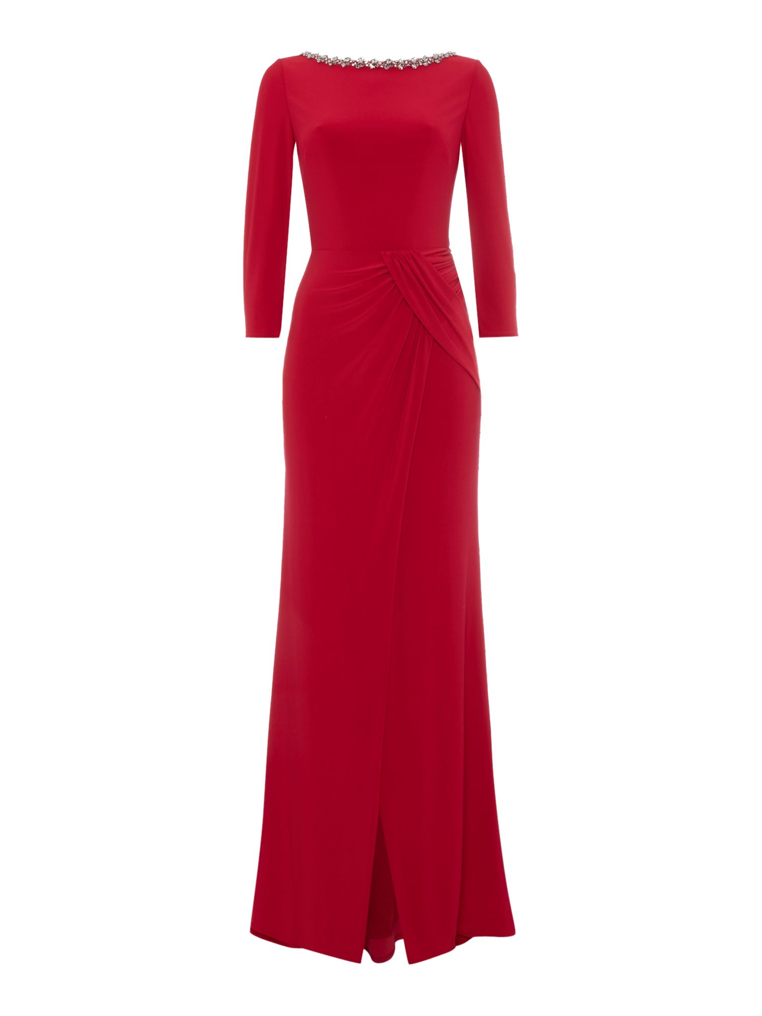 Js Collections JS Collections 3/4 sleeve dress with necklace detail, Red