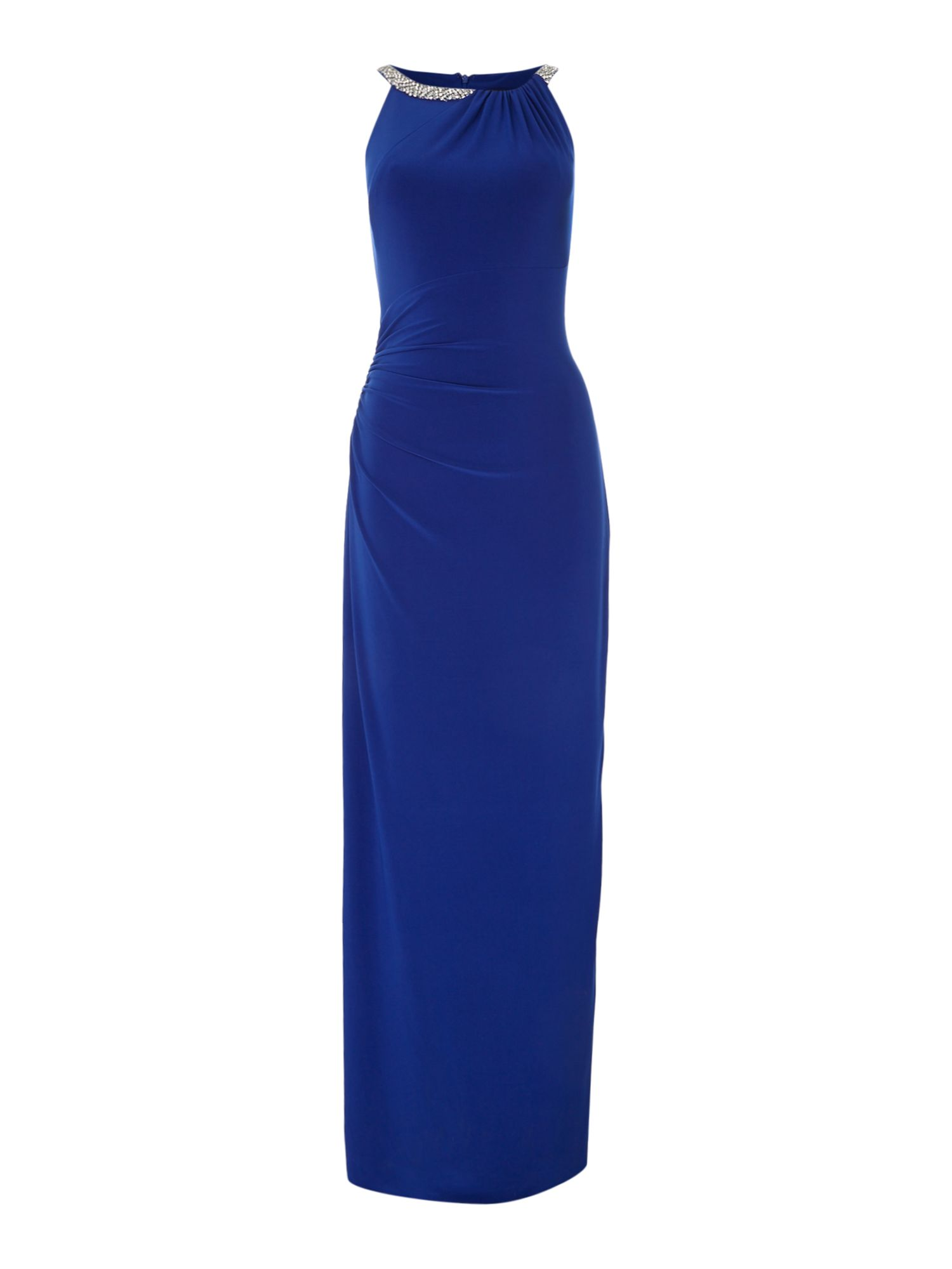 Js Collections JS Collections Crystal halter gown jersey dress, Blue