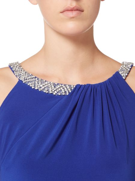 JS Collections Crystal halter gown jersey dress