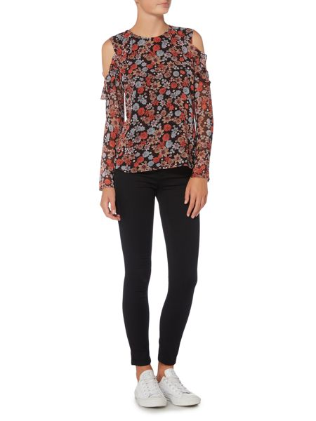 Bardot Long Sleeved Cold Shoulder Floral Printed Top