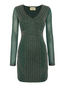 Lace and Beads Long Sleeved Beaded Bodycon Dress