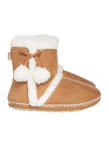 Totes Sherpa bootie with pom poms