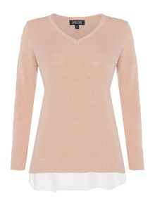 Episode Faux layer knit top