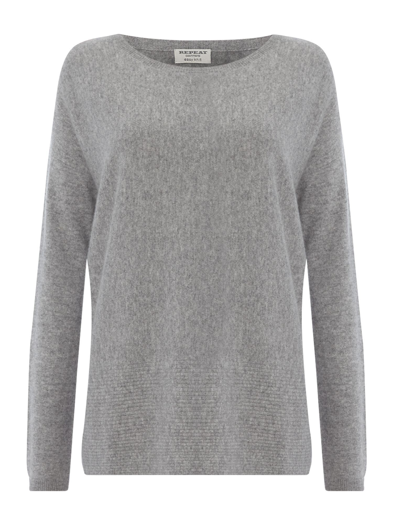 Repeat Cashmere Repeat Cashmere Round neck ribbed bottom jumper, Light Grey