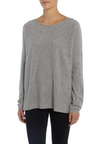 Repeat Cashmere Round neck ribbed bottom jumper