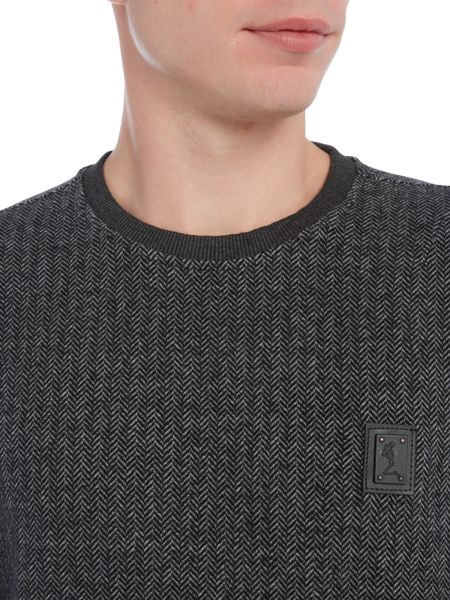 Religion Herringbone square logo crew neck sweatshirt