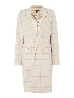 Longline check detail coat