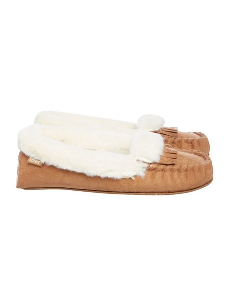Totes Fringed moccasin slipper