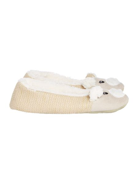 Totes Knit back novelty lined slipper