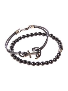 Simon Carter Anchor Bracelet With Mini Skull Onyx Set