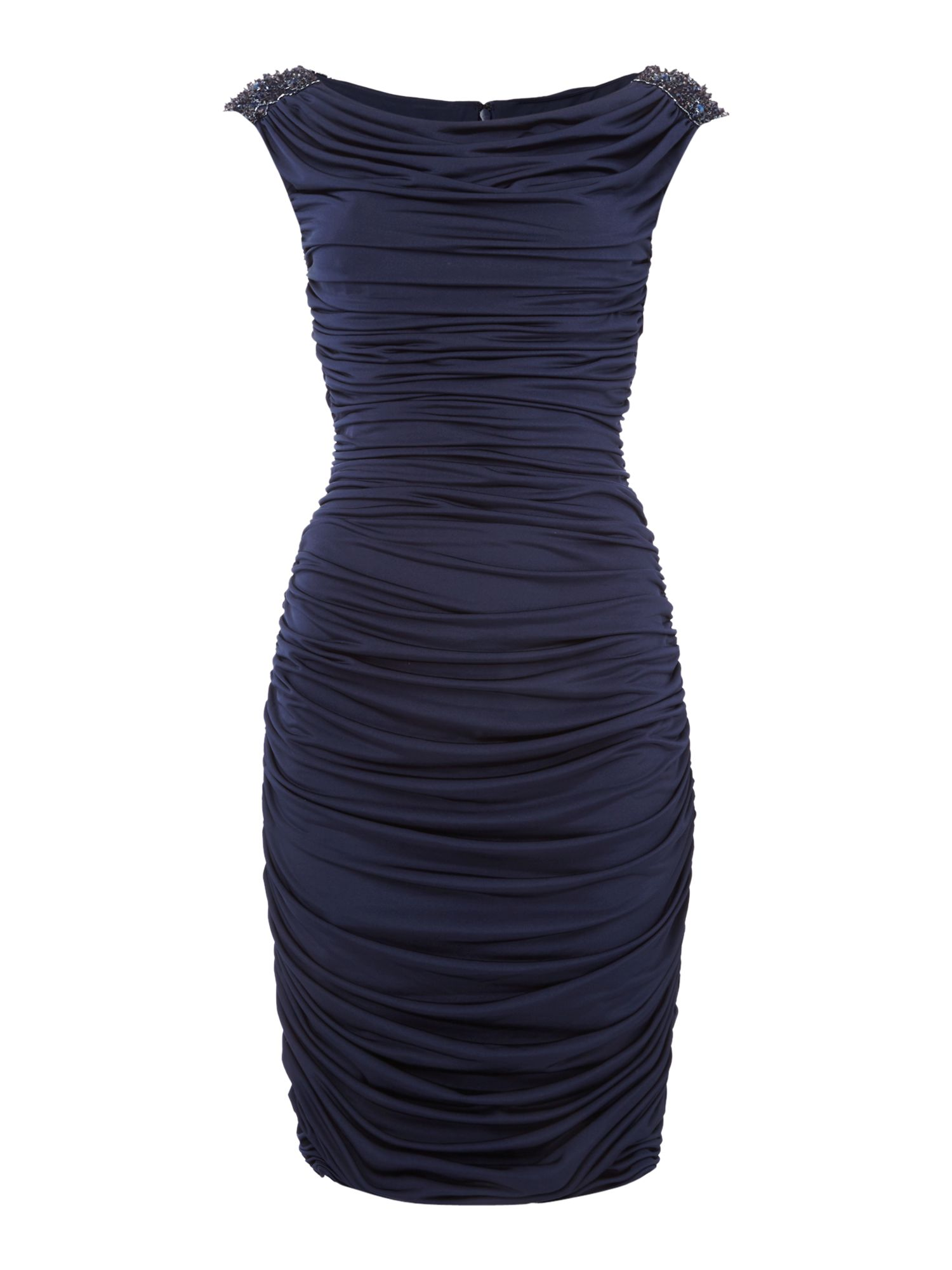 Js Collections JS Collections Rouched dress with beaded shoulder, Navy