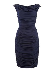 JS Collections Rouched dress with beaded shoulder