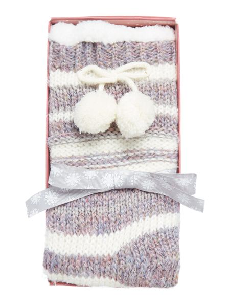 Totes Pink Striped eyelash sock