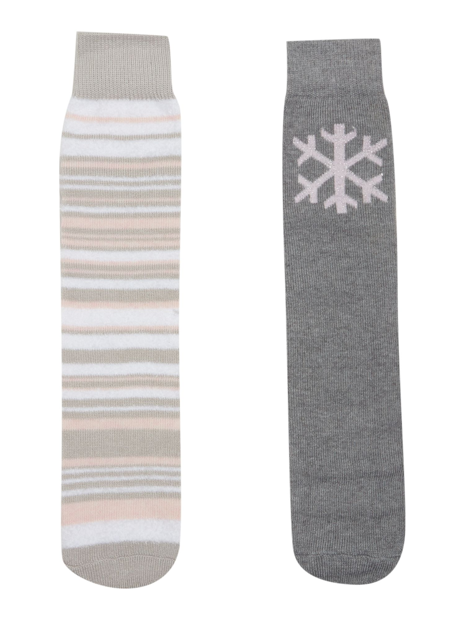 Totes Totes Stripeed and snowflake pack of socks, Grey