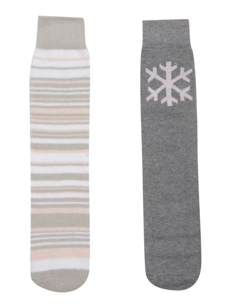Totes Stripeed and snowflake pack of socks