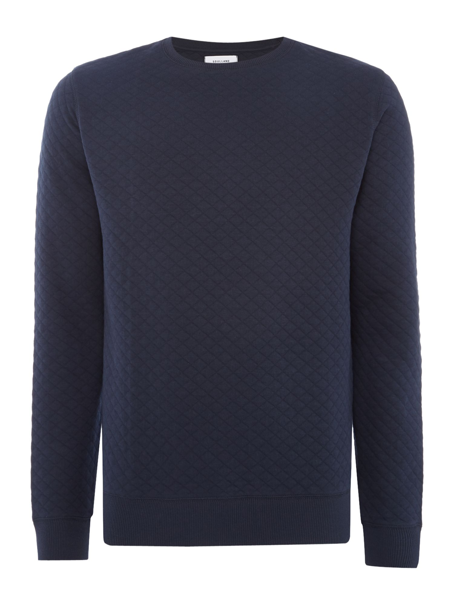 Men's Soulland Huddleston quilted crew neck sweat top, Blue