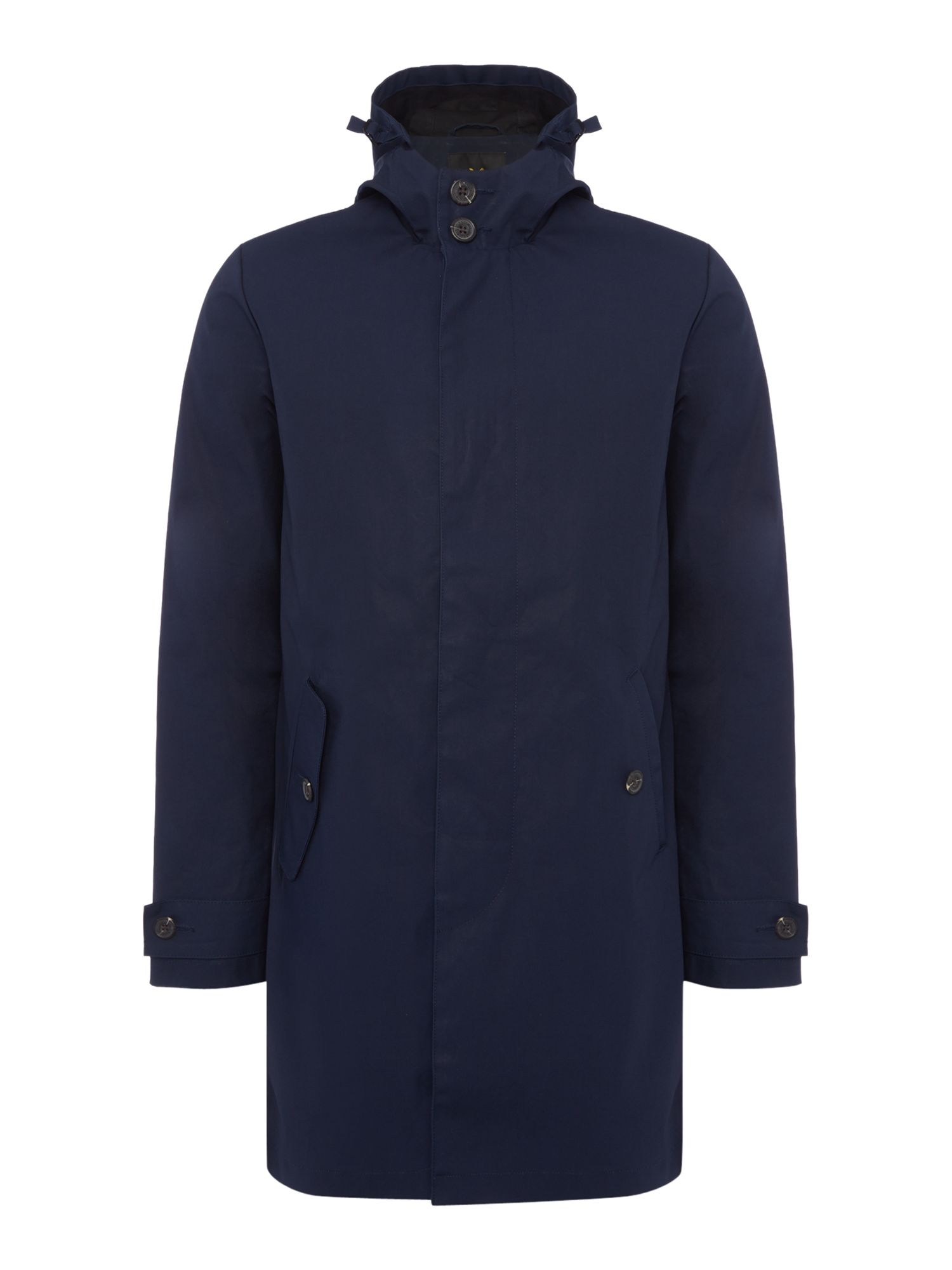 Mens Lyle and Scott Hooded Trench Coat Navy