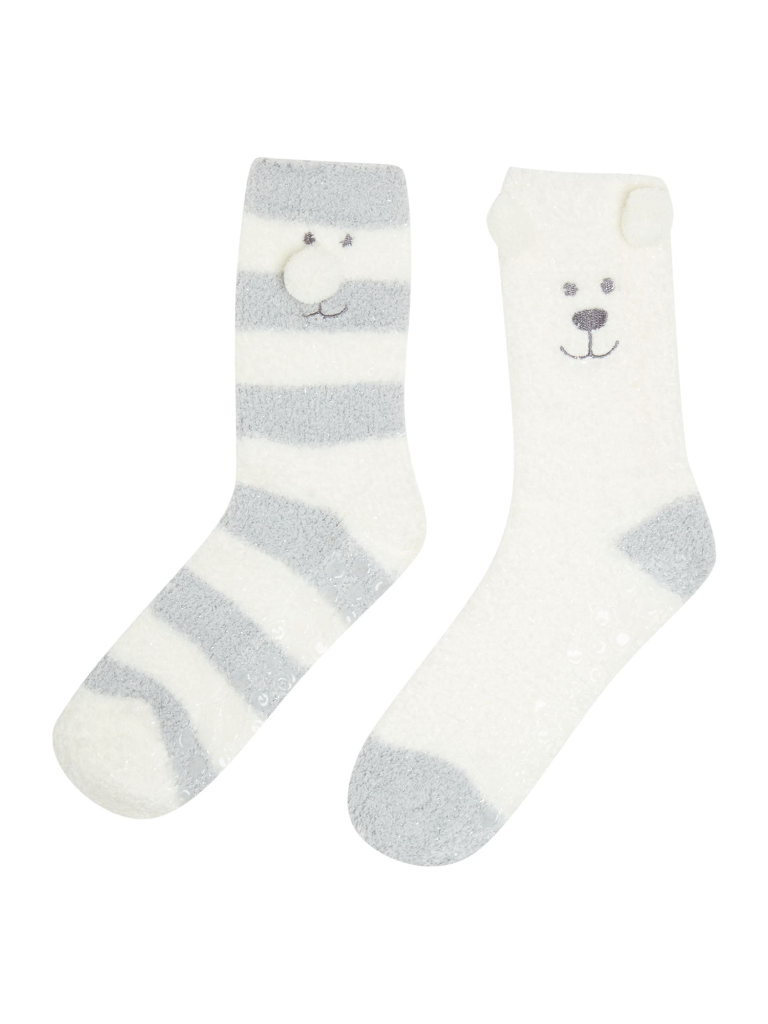 Totes Totes Twin bear neighbours sock pack, Grey
