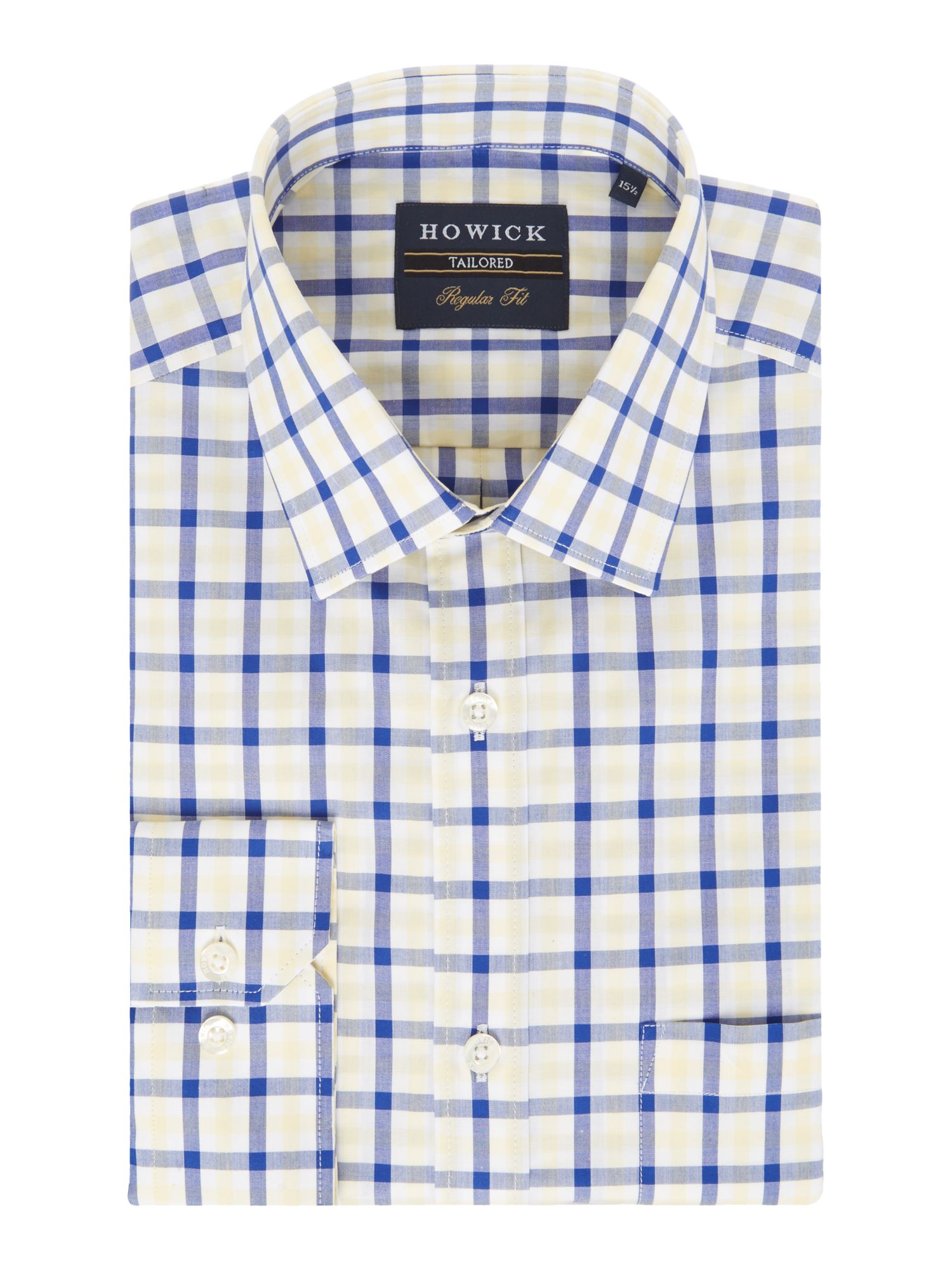 Men 39 s howick tailored cedar gingham shirt yellow for Mens yellow gingham shirt