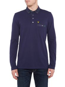 Lyle and Scott Long Sleeve Woven Check Collar Polo Shirt