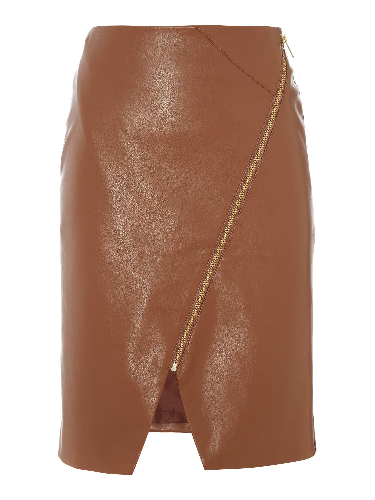 Biba PU assymetric zip detail skirt, Tan