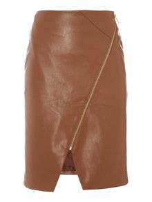 Biba PU assymetric zip detail skirt