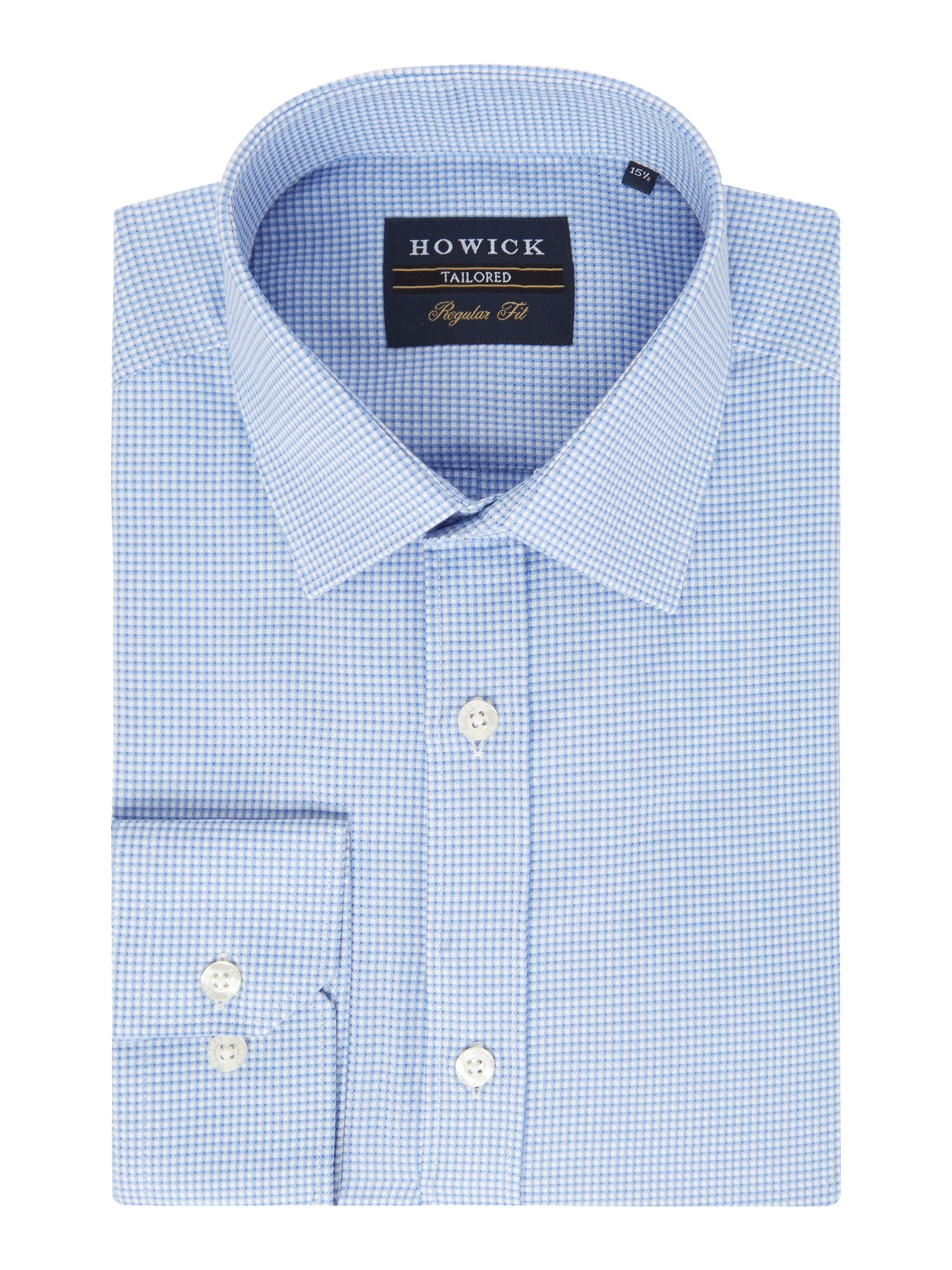 Howick Tailored Men's Howick Tailored Parkway Textured Check Shirt, Blue