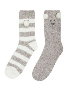 Totes Supersoft bear twin pack of socks