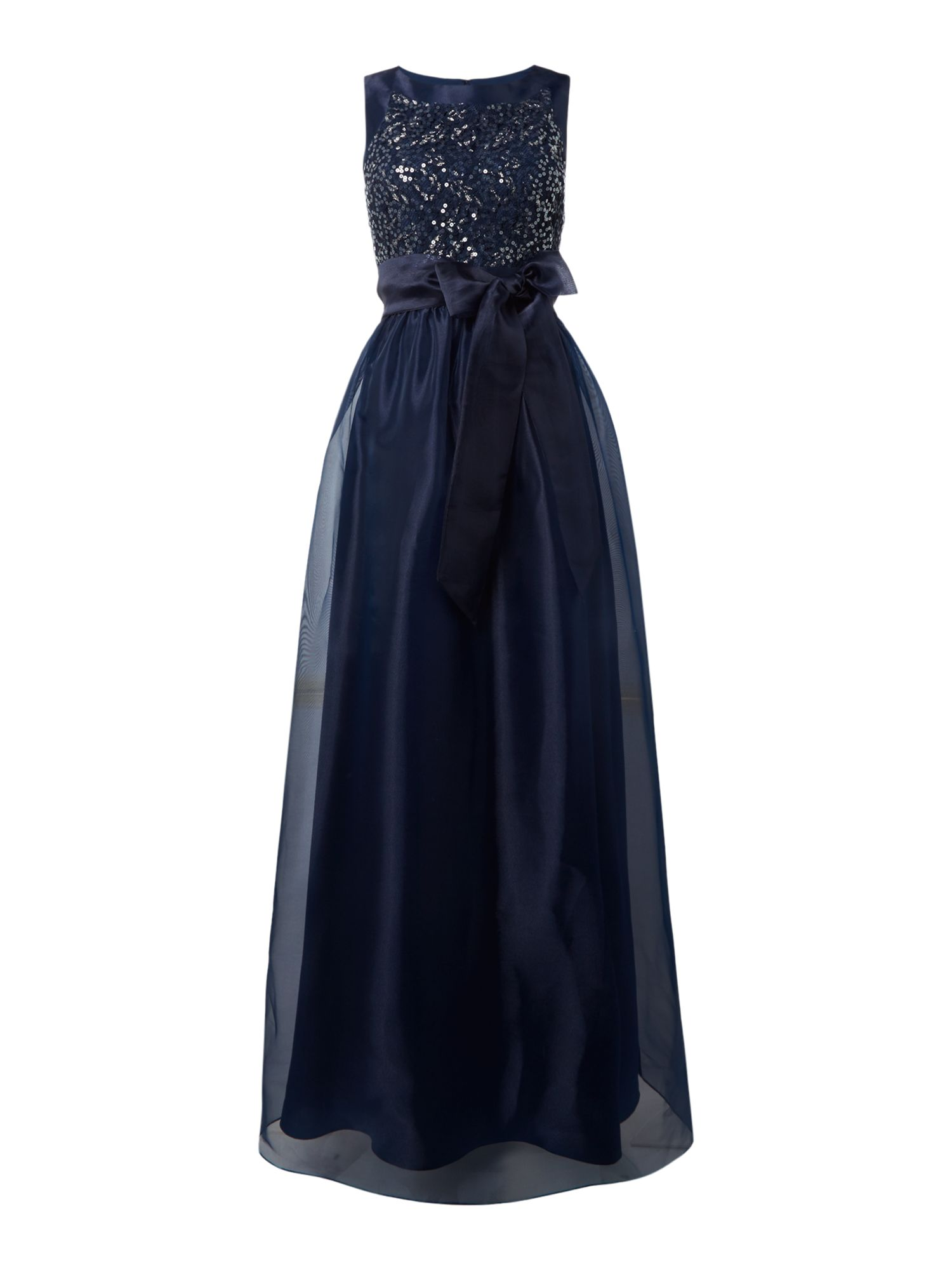 Eliza J Organza tie waist bridemaid dress, Blue