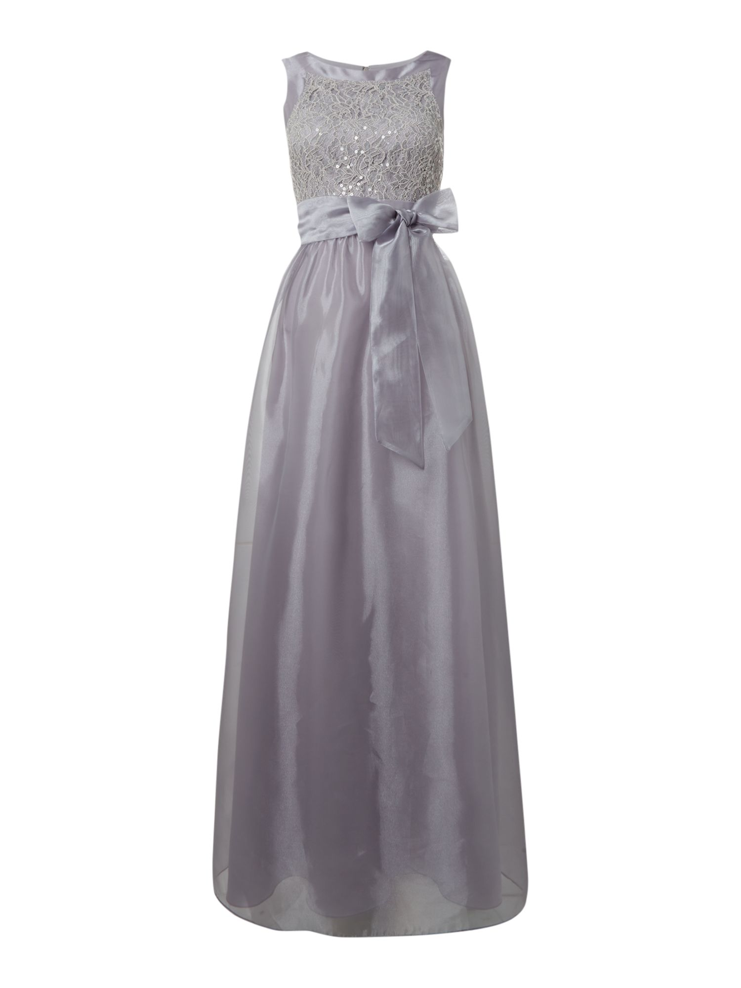 Eliza J Organza tie waist bridemaid dress, Grey