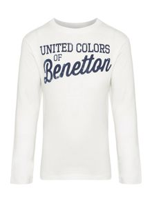 Benetton Boys Logo Long Sleeve T-Shirt