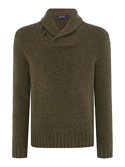Long sleeve shawl neck sweater