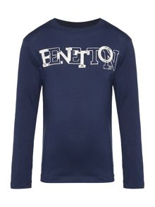 Benetton Boys Logo Letter Long Sleeve T-shirt