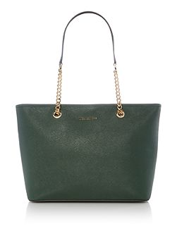 Jetset travel green chain top zip tote