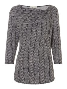 Linea Twist cowl herringbone print top