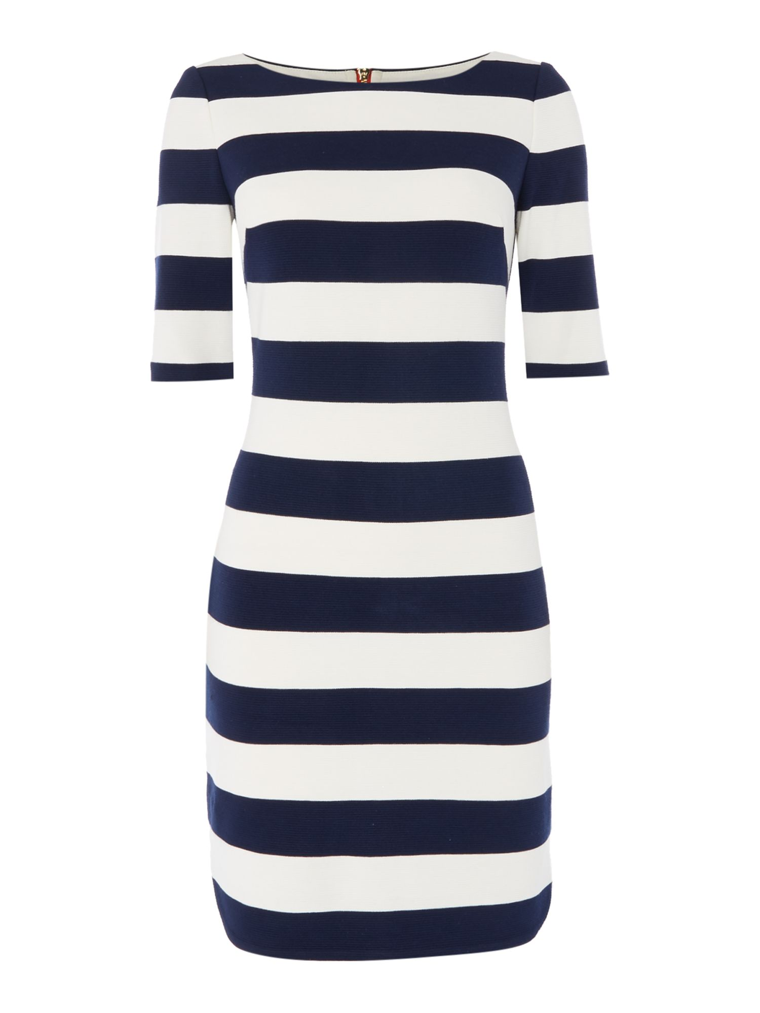 Eliza J 3/4 Sleeve jersey striped dress with stretch, White & Blue