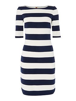3/4 Sleeve jersey striped dress with stretch