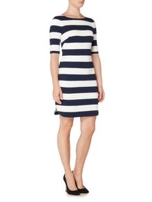 Eliza J 3/4 Sleeve jersey striped dress with stretch