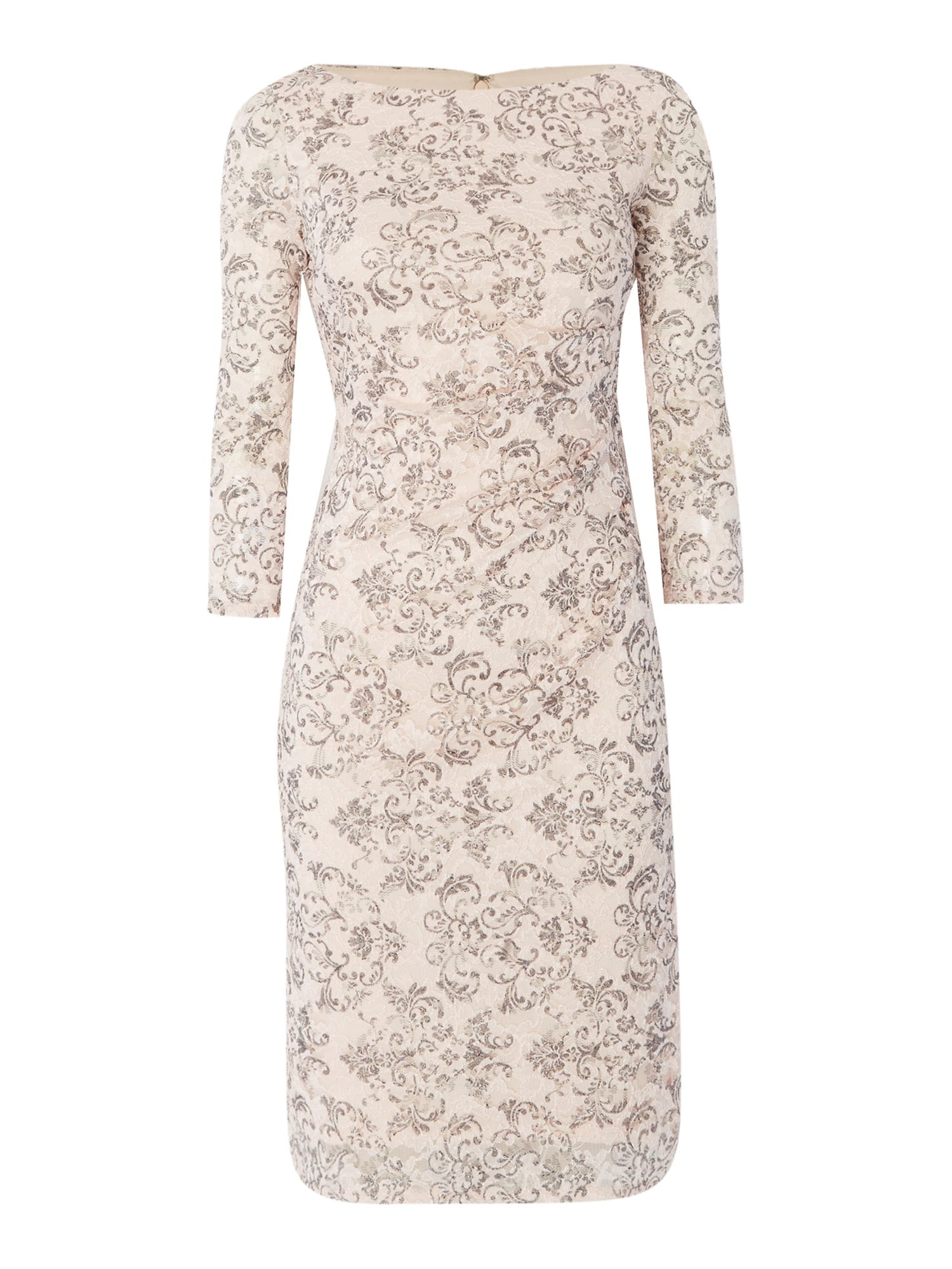 Eliza J 3/4 sleeve lace floral wrap dress, Pink