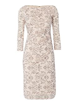 3/4 sleeve lace floral wrap dress
