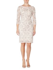 Eliza J 3/4 sleeve lace floral wrap dress
