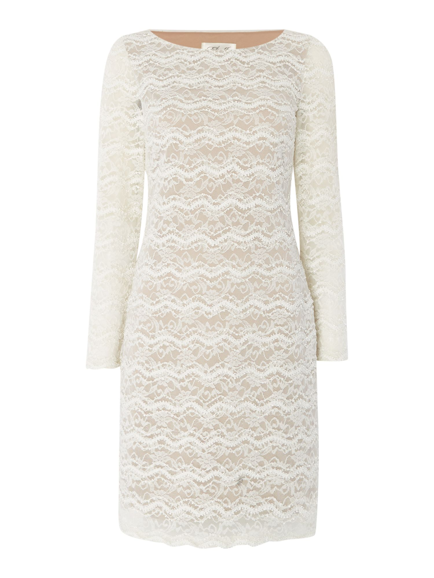 Eliza J Long sleeve textured lace shift dress, White