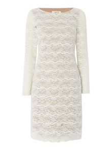 Eliza J Long sleeve textured lace shift dress
