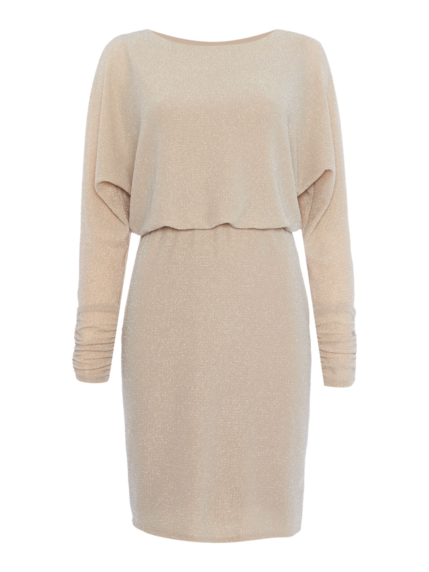 Eliza J Long sleeve lurex dress, Pink