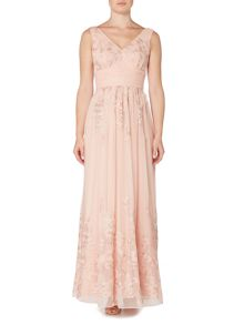 Eliza J Floral embroidered gown