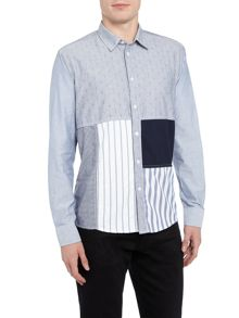 Soulland Miller long-sleeve patchwork shirt