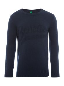 Benetton Boys Knit Crew Neck Jumper Logo